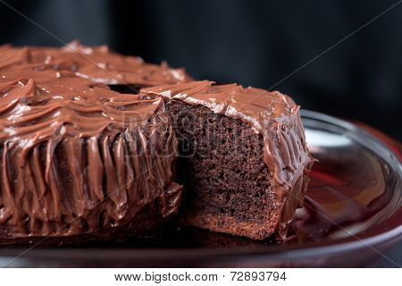 Chocolate Mud Cake On Black Background