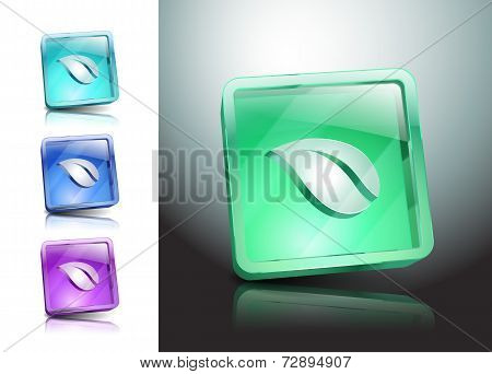 Illustration Vector Leaf Icon Glassy Green