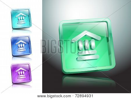 Bank Icon Glass Vector Institution Banking Finance