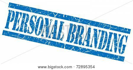 Personal Branding Blue Grunge Stamp Isolated On White