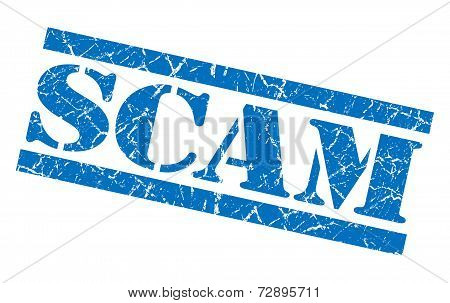 Scam Blue Grunge Stamp Isolated On White