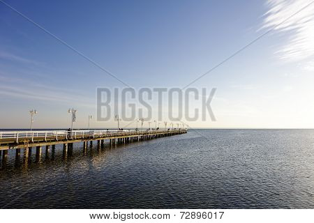 Wooden Pier In Jurata In The Evening