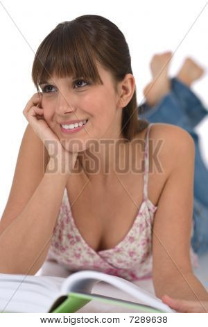 Student - Happy Female Teenager With Book