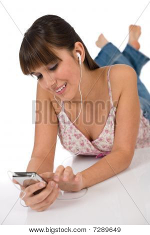 Student - Happy Female Teenager Listen To Music