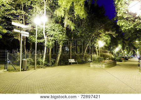 Night View Of The Famous Promenade In Jurata