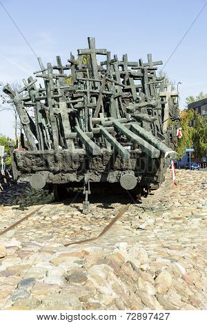 Symbolic Crosses Loaded On To Railway Wagon