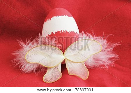 Red Easter Egg Fairy With Wings