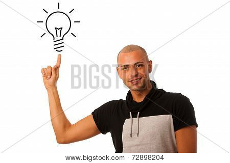 G Man Pointing To Light Bulb As He Gets New Idea Isolated Over White Background