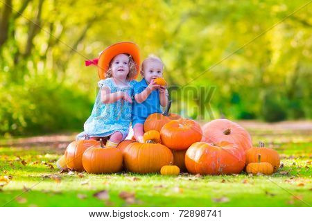 Pretty Children At Pumpkin Patch