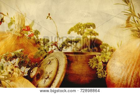 Background texture with pumpkins carrots seeds butternut squash and herbs - Still life composition w