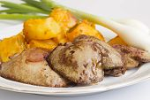 picture of liver fry  - Fried liver served with potatoes and onions - JPG