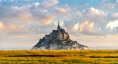 stock photo of mont saint michel  - View at the Mont Saint-Michel in morning haze ** Note: Visible grain at 100%, best at smaller sizes - JPG