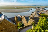 pic of mont saint michel  - View from the Mont Saint-Michele in Normandy ** Note: Visible grain at 100%, best at smaller sizes - JPG