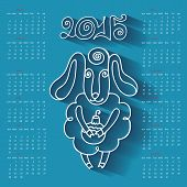stock photo of baby sheep  - Calendar new Year 2015 - JPG