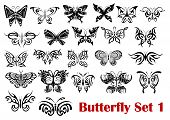 stock photo of insect  - Set of ornate butterfly silhouette icons - JPG