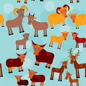pic of deer meat  - Set of funny animals with cubs Goats sheep cows deer seamless pattern on a blue background - JPG