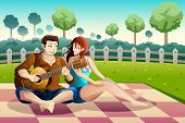pic of serenade  - A vector illustration of happy couple playing guitar together in a park - JPG