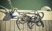 stock photo of coiled  - coiled rope on boat - JPG
