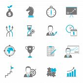picture of goal setting  - Business strategy planning icon flat with direction collaboration goal setting isolated vector illustration - JPG