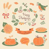pic of give thanks  - Happy Thanksgiving set of elements for design - JPG