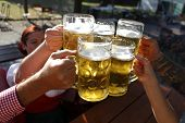 stock photo of bing  - People in traditional costumes drinking beer in a Bavarian beer garden