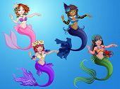 picture of mermaid  - Cute mermaid underwater with beautiful tale and hair accessories - JPG