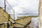 stock photo of alcatraz  - The Recreation Yard on Alcatraz Penitentiary island now a museum in San Francisco California USA - JPG
