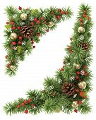 stock photo of fir  - Christmas corners set from the decorated fir tree branches - JPG