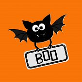 stock photo of happy halloween  - Cute bat with plate boo - JPG