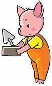 foto of piglet  - Children vector illustration of little piglet in orange overall with brick and trowel - JPG