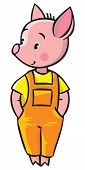 image of piglet  - Children vector illustration of little piglet in orange overall - JPG