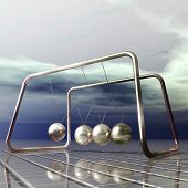 pic of pendulum  - Digital 3D Illustration of a Newton Pendulum - JPG