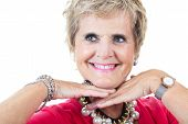 picture of 70-year-old  - Serior woman studio portrait 70 years old smile - JPG