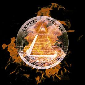 stock photo of freemasons  - digital composition of a burning Symbol eye on a pyramid - JPG