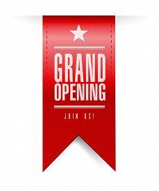 image of emblem  - grand opening banner illustration design over a white background - JPG