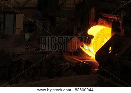 Hot Steel Roll on Conveyor Belt