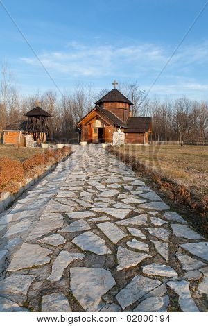 Stone path to orthodox church in Velika Plana