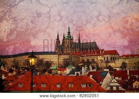 Purple Sunrise Over Prague Castle (vintage Image)