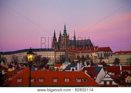 Purple Sunrise Over Prague Castle