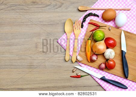 Food Ingredient On Wooden Background