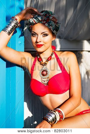 Beautiful Woman Wearing Colored Turban