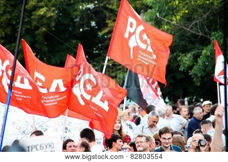 Flags Of The Russian Socialist Movement On Oppositional Meeting