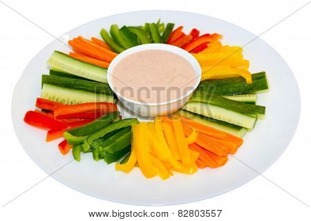 Green Salad And Sauce Dip