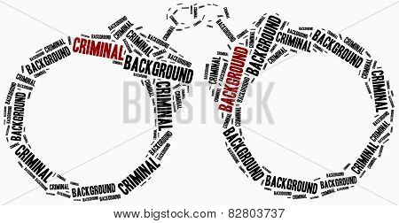 Criminal Background Check. Word Cloud Illustration.