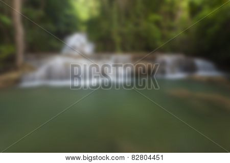 Blurred waterfall background in tropical forest