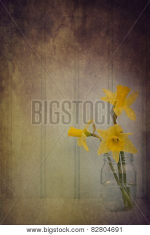 Still Life Image Of Spring Flowers With Vintage Texture Filter Effect Applied