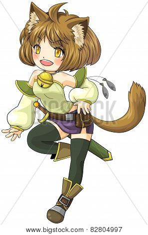 Fantasy Female Cat Warrior In Japanese Manga Illustration Style, Create By Vector
