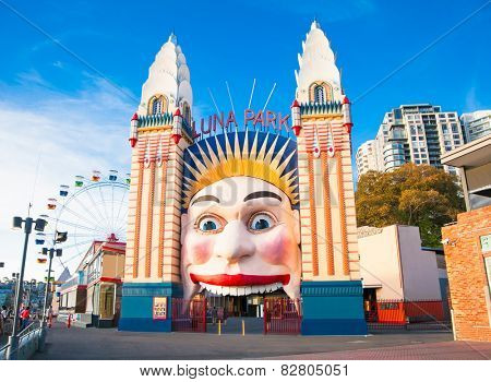 SYDNEY, AUSTRALIA -  JAN 7, 2015.  Lunar Park on Jan 7, 2015 in Sydney. It is an amusement park located at Milsons Point in Sydney,  Australia.