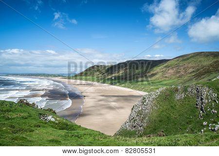 Beautiful Summer Landscape Of Rhosilli Bay Beach Gower Peninsula In Wales