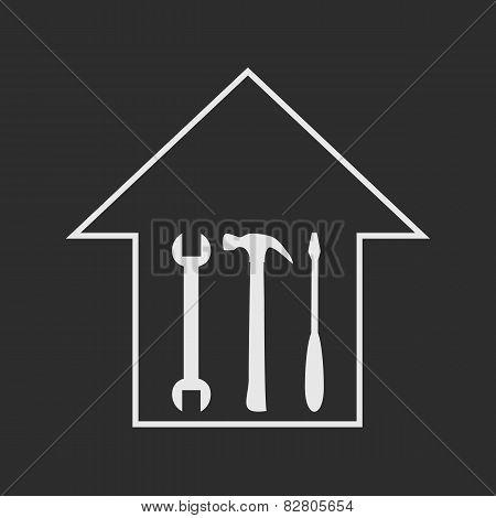 House Repair. White On Dark Grey